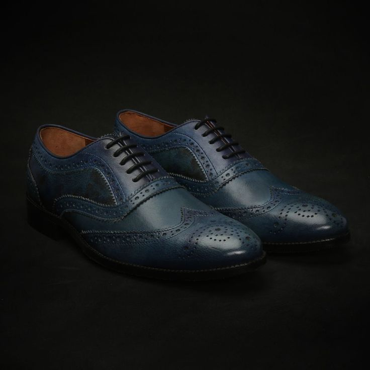BUY #BLUE HAND PAINTED DUAL SHADE LEATHER FULL #BROGUE SHOES NEW EXCLUSIVE COLLECTION BY #BRUNE