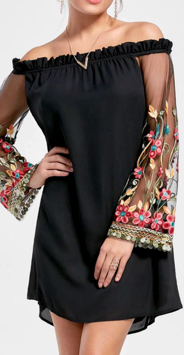 c42b0484922 Sizes M-2XL Bell Sleeve Drop Shoulder Embroidered Mini Shift Dress -  Uniques heer mesh