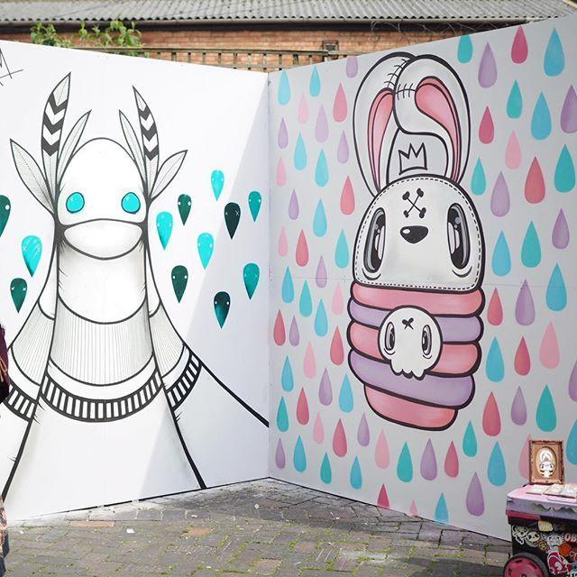 WEBSTA @ lil_wah - Yesterdays city of colours piece next to @korporate  #cityofcolours #birmingham #festival #streetart #digbeth #misswah #korporate #kawaii #cute #posca #korpworm #pastel #bunny #kawaii #artist #instacool #photooftheday