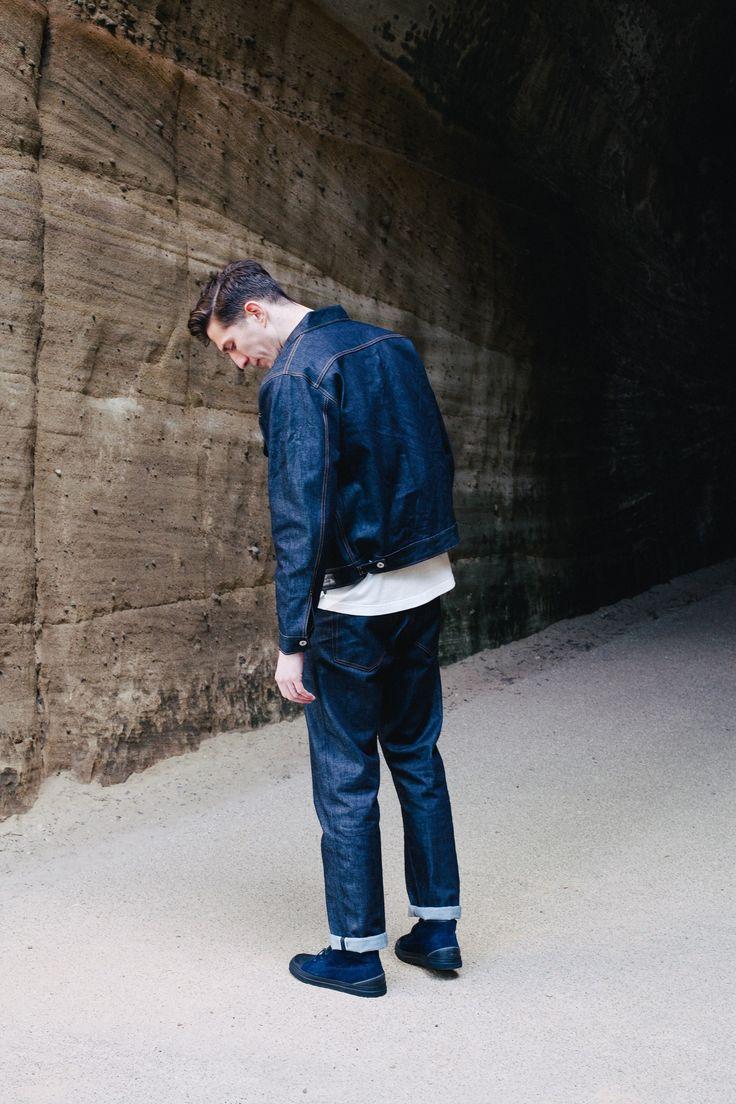 Universal Works Workshop Denim Indigo Trucker Jacket  and Regular Fit Jeans in Selvedge Denim