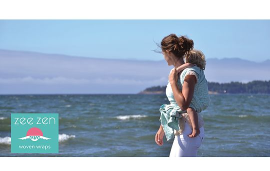 Zee Zen Woven Wraps  Pearl Cover Tower of the Sea.  Lovely cushy wraps made in Canada from high quality custom Belgian woven fabric.  Babywearing by the sea.