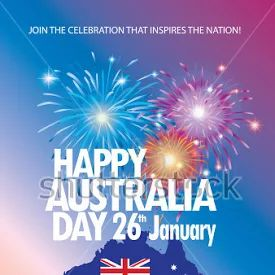 Happy Australia Day 26th January Celebration poster. Holiday vector illustration with Australia map, Australian flag and fireworks. Festive congratulations wallpaper. Holidays Anniversary Advertising