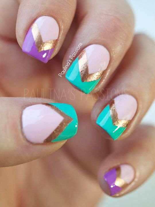 Purple, turquoise, chevron. | See more at http://www.nailsss.com/acrylic-nails-ideas/3/