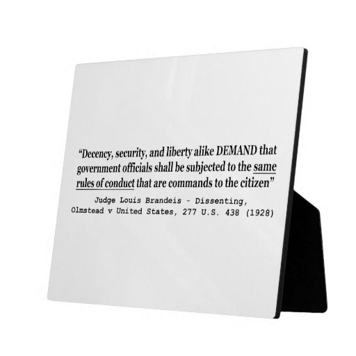 Decency Security and Liberty Judge Louis Brandeis Plaque