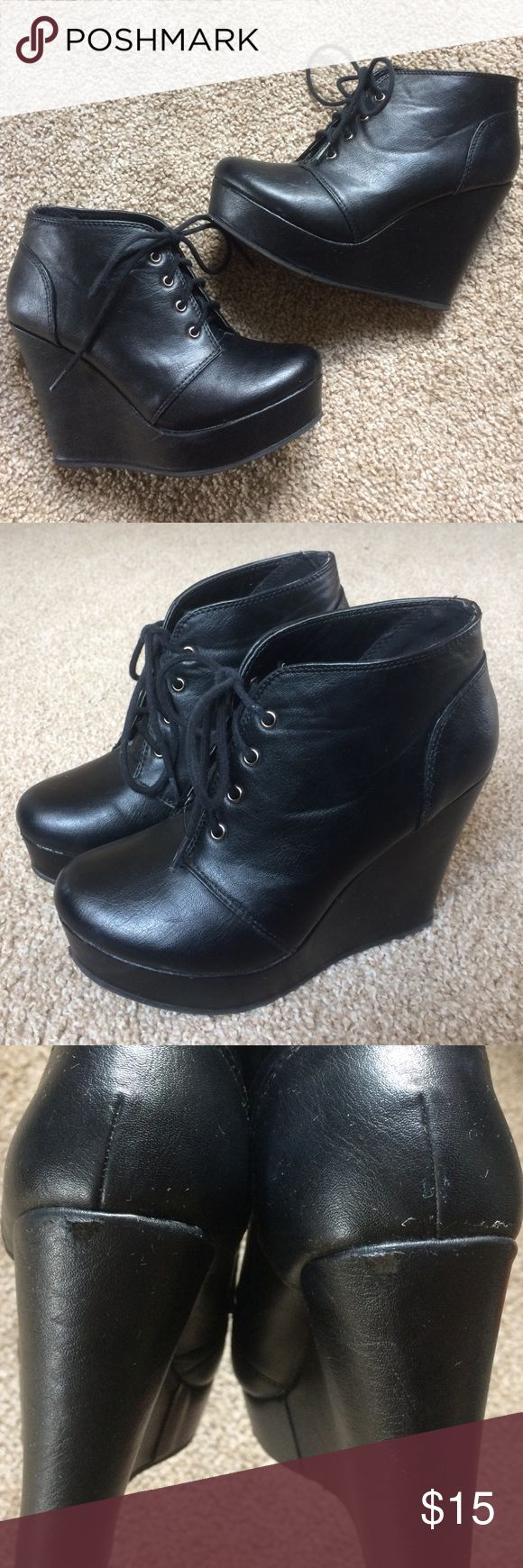 Black wedge boots Lightly worn, a few scuffs shown in the last pictures, size 6 (fits snug) Soda Shoes Ankle Boots & Booties
