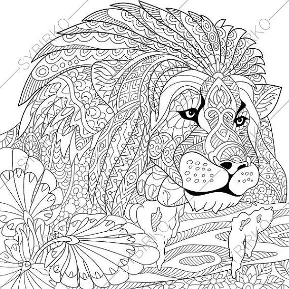 Lion Adult Coloring Page. Zentangle Doodle by ColoringPageExpress