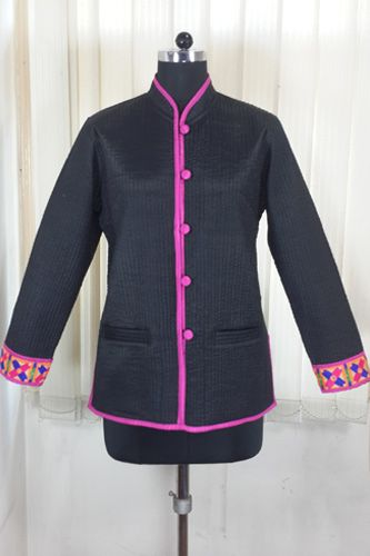 Fully Quilted black silk jacket is an ideal party wear.