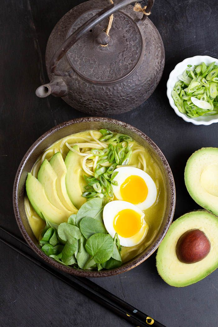 A totally new take on ramen, using avocados and greens. Total cook time only 20 minutes!