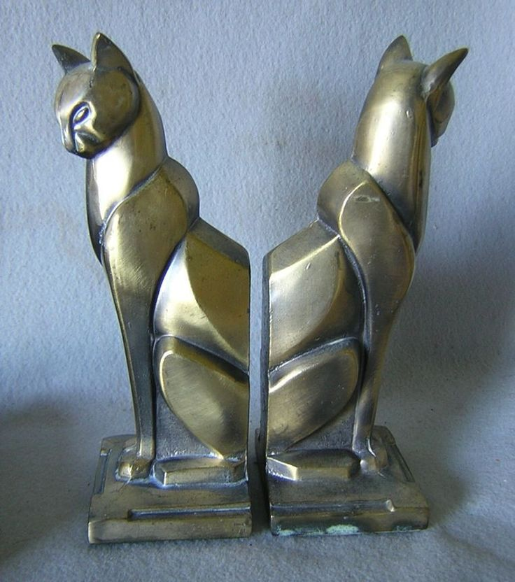 c1920-30s Art Deco Cat Bookends