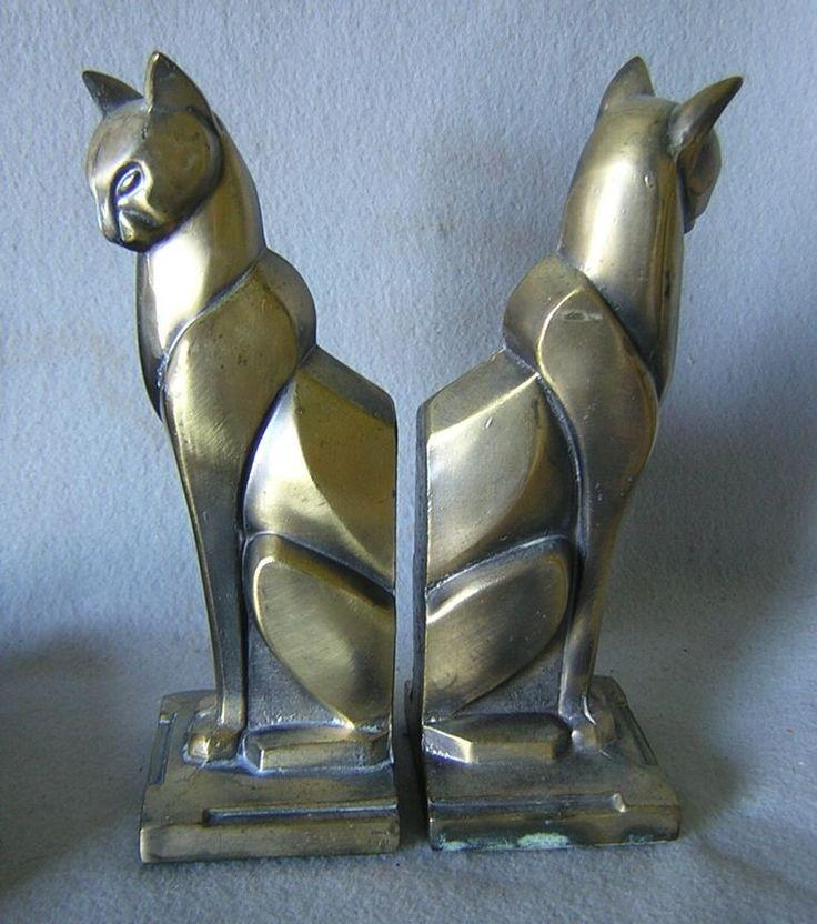 Art Decó Cat Bookends (c.1925)