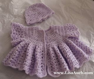 Free Crochet Patterns-crochet baby layette patterns-baby sweater patterns- Baby Cardigan and Matching Hat