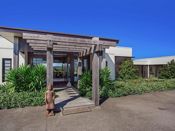Contemporary Hill Home With Beautiful Gardens And Pool : Pergola Design  Used Wooden Material Combined Among