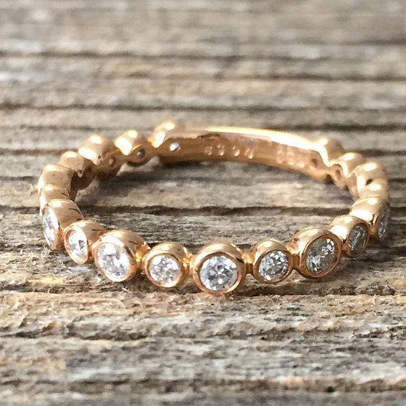 Half Eternity Bezel Wedding Band, Rose Gold #jewelry #ring @EtsyMktgTool #diamondengagement #engagementring #diamondring #bezelweddingband