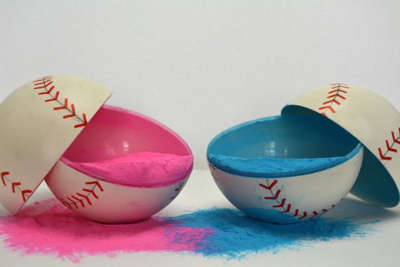 These fun and simple exploding baseballs are the perfect way to reveal your new babys gender. Made to order these chalk filled balls will
