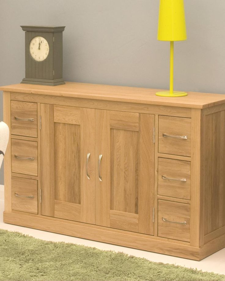 Solid Oak Sideboard With Two Cupboards And Six Drawers
