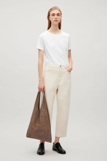 COS image 1 of Soft leather shopper in Cocoa