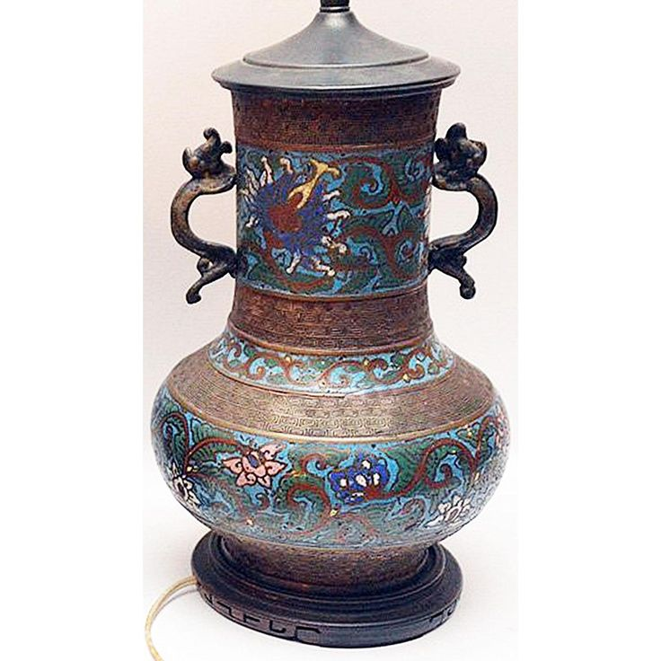 Champleve' Bronze Chinese Lamp - Image 5 of 5