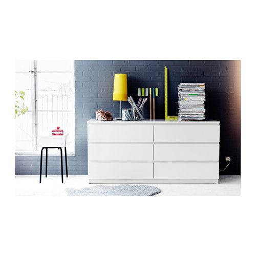 MALM Commode 6 tiroirs, blanc blanc 160x78 cm