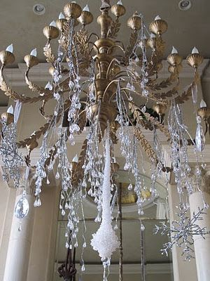This Chandelier Is Hung With Icey Branches Icicles Snowflakes And Jewels