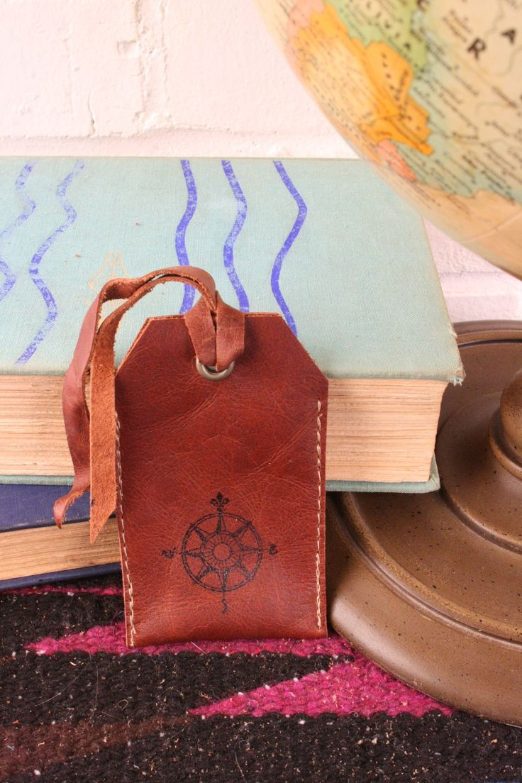 Customizable Compass leather luggage tags