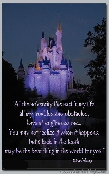 All the adversity I've had in my life, all my troubles and obstacles, have strengthened me... You may not realize it when it happens, but a kick in the teeth may be the best thing in the world for you. Walt Disney was a very wise man!