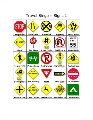 Printable Travel Bingo: Travel Bingo - Traffic Signs 1