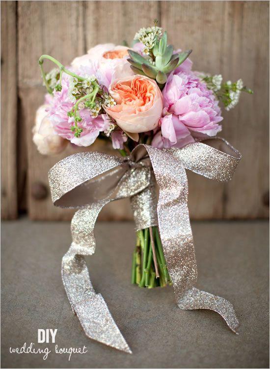 Le ruban ça change tout !: Idea, Glitter Wedding, Wedding Bouquets, Gold Ribbons, Glitter Ribbons, Wedding Theme, Flower, Pink Peonies, Succulent Bouquets
