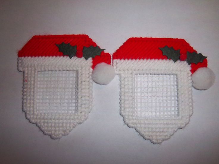 2 Handmade Santa Claus Picture Frame Ornaments by Marsha1991