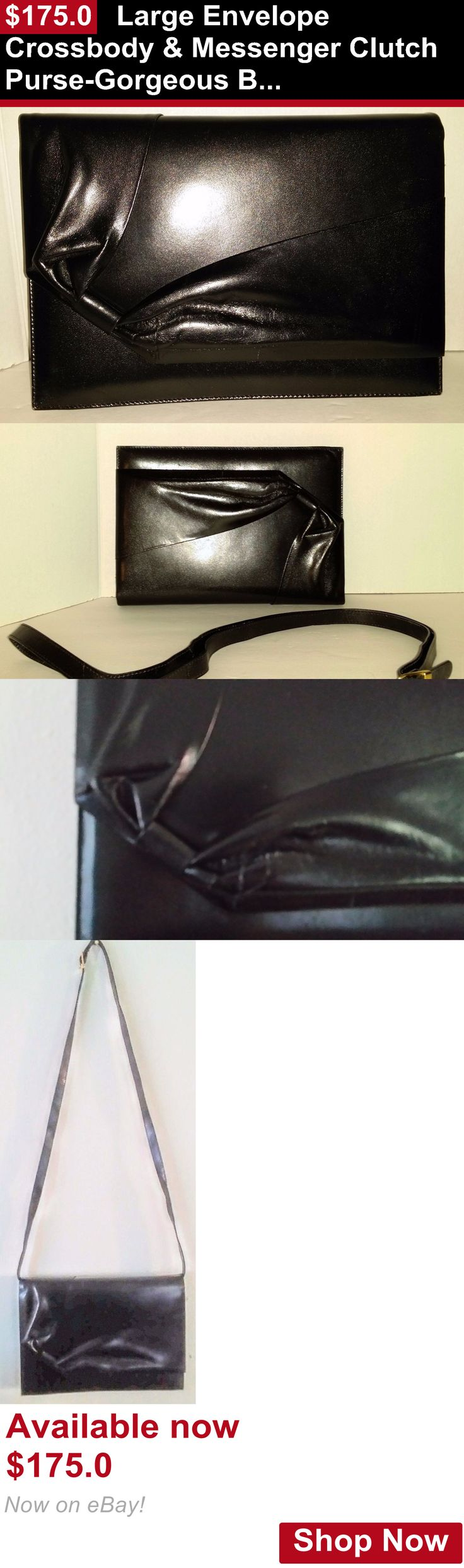 Vintage accessories: Large Envelope Crossbody And Messenger Clutch Purse-Gorgeous Black Leather BUY IT NOW ONLY: $175.0