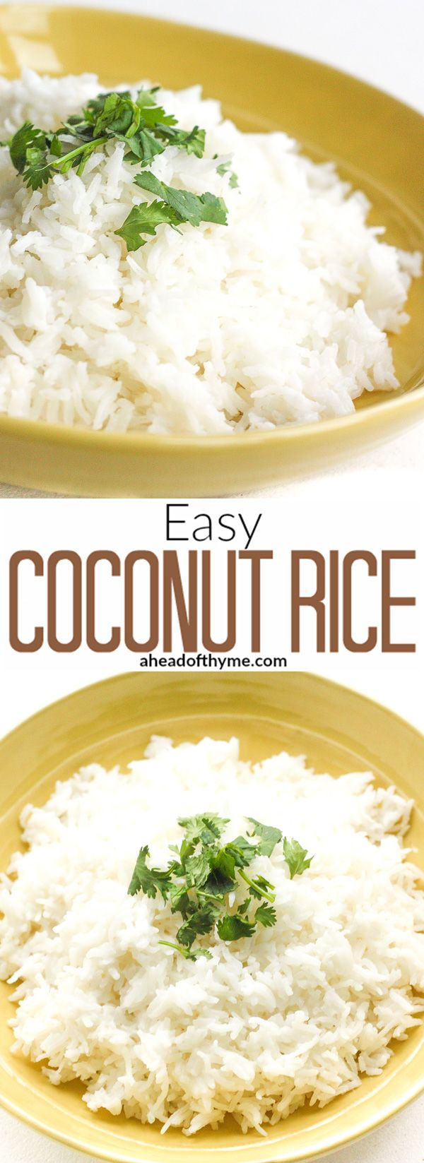 Easy Coconut Rice: Amazing, aromatic coconut flavours emanates from this perfect, easy coconut rice, making it the perfect side dish to almost all Thai and South Asian dishes. | aheadofthyme.com via @aheadofthyme