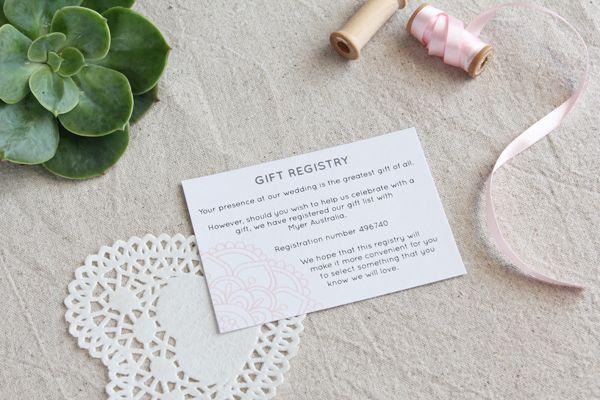 Wedding Invitation Registry Wording: Pink Henna Wedding Invitation Suite, Gift Registry Card
