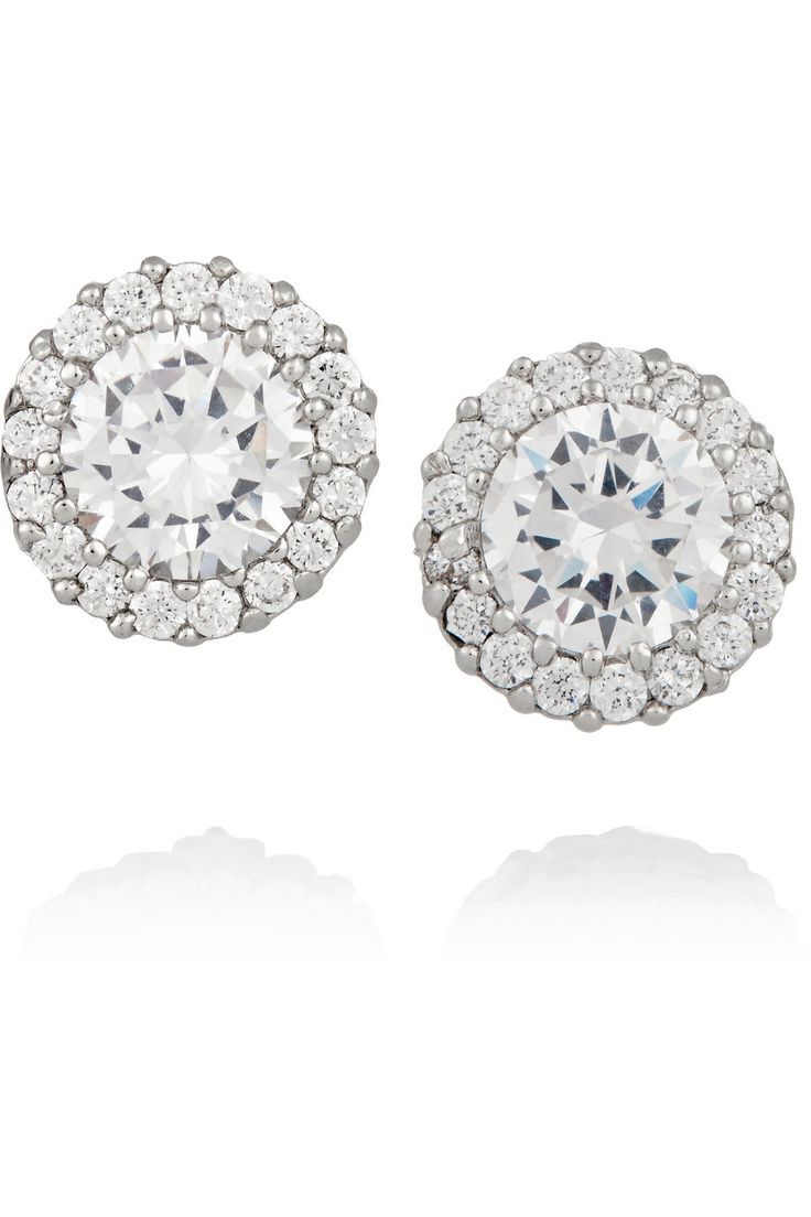 Kenneth Jay Lane  Rhodiumplated Cubic Zirconia Earrings Aporter