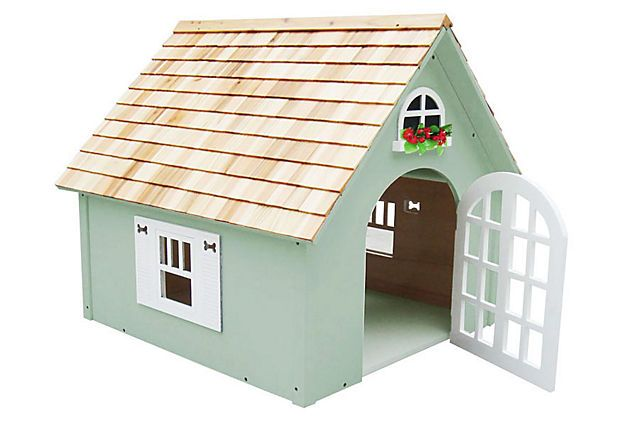 Victorian Dog House, Green on OneKingsLane.com for $349  I can make this myself for just the low cost of the plywood.