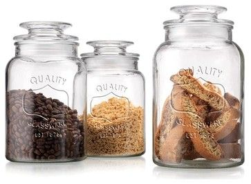 Classic Mason Jar Set of 3 Storage Canisters - traditional - Food Containers And Storage - Classic Hostess