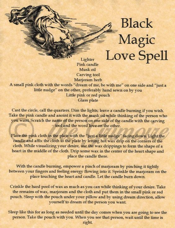 Black Magic Love Spell - Book of Shadows Page - Rare ...