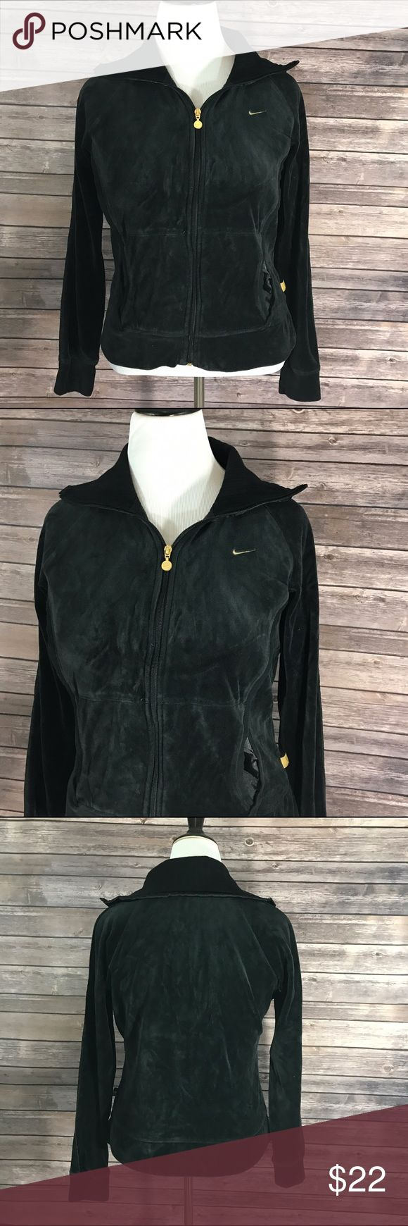 Nike Zip Up Velour Jacket Black Athletic Warm Up Measurements: (in inches) - Underarm to underarm: 21 - Length: 23 Good, gently used condition Nike Jackets & Coats