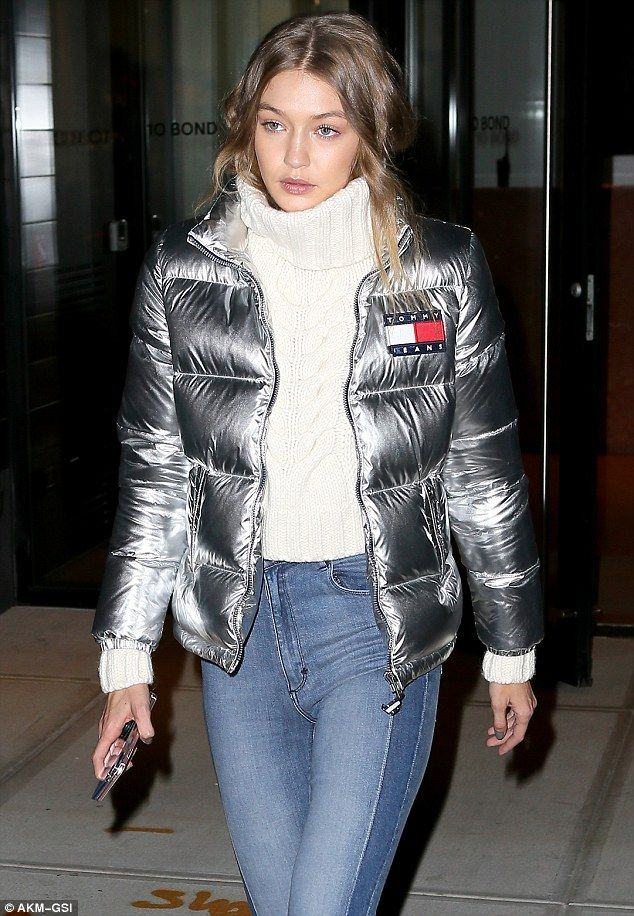 f7686ba78de7 Gigi Hadid cuts a stylish figure in silver Tommy Hilfiger jacket ...