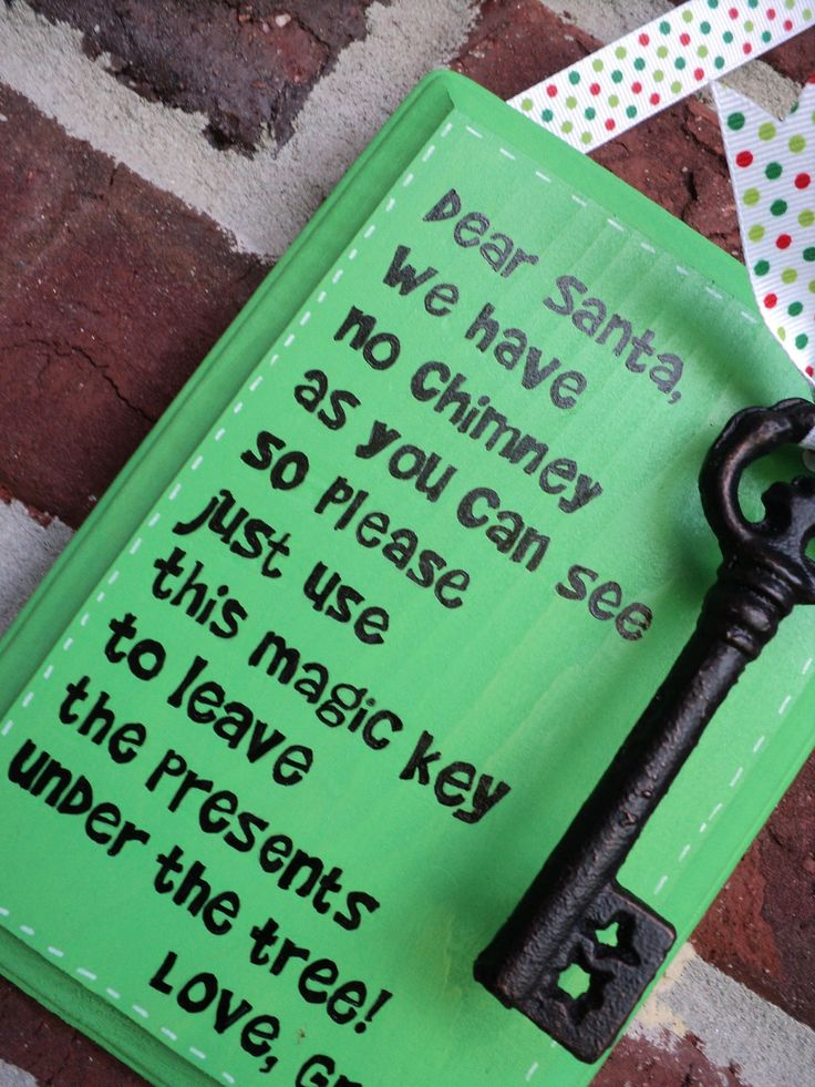 I don't and have never believed in Santa. But I won't ruin the magic of believing for my kid either. So this is cute.....Santa Magic Key.