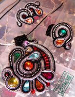 soutacheset of earrings, ring and pendant by caricatalia
