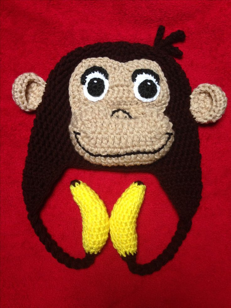 Crochet monkey hat with bananas. Curious George inspired