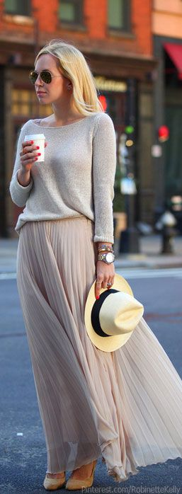Street Style | Classic and Chic. White sweater long skirt hat. Spring women apparel @roressclothes closet ideas style ladies outfit fashion clothing