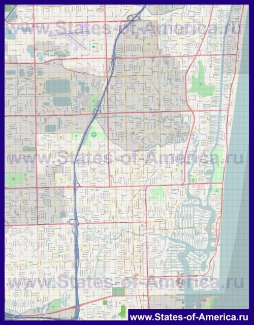 Подробная карта города Форт-Лодердейл