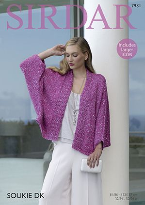 Sirdar 7931 Kimono Style Jacket in Sirdar Soukie DK for Adults (#3 Weight Yarn)