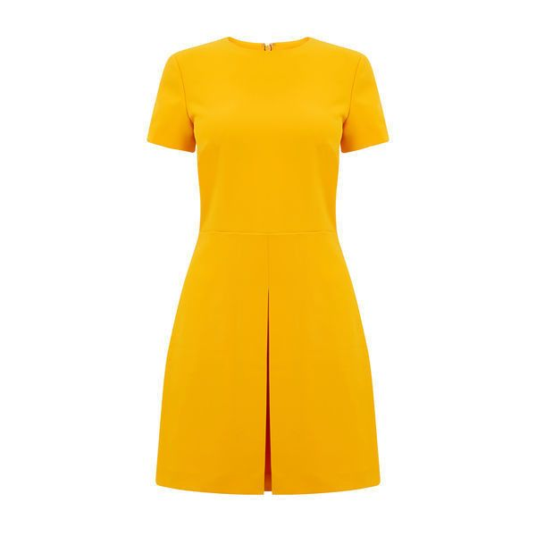 Warehouse Warehouse Box Pleat Dress Size 6 ($57) ❤ liked on Polyvore featuring dresses, yellow, wet look dress, warehouse dresses, short yellow dress, short orange dress and pleated dress