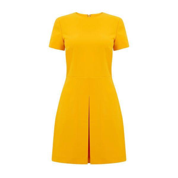Warehouse Warehouse Box Pleat Dress Size 8 (£46) ❤ liked on Polyvore featuring dresses, yellow, shiny dress, wet look dress, wetlook dress, shining dress and polish dress
