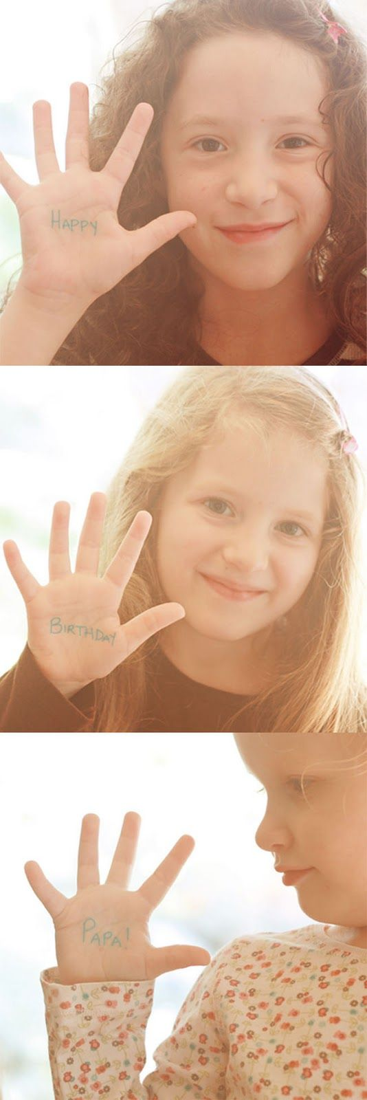 Cute!  Love this idea of writing the happy birthday message on their hands.