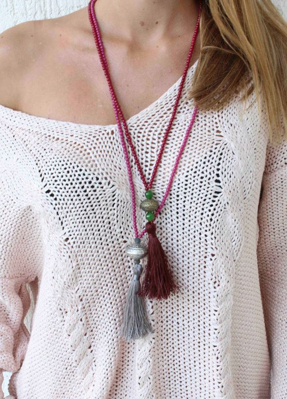 Long Tassel Necklace Raspberry and silver by lizaslittlethings