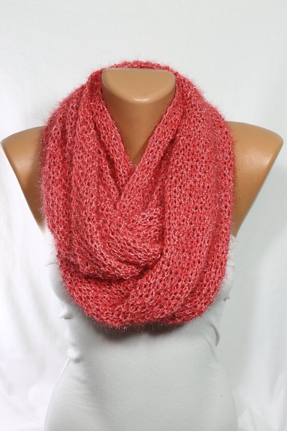 Handknit Infinity Scarf Coral Scarf Knit Scarf Sparkly Infinity Scarf Mother's Day Gift Knit Cowl Gift Ideas For Her Neck Warmer ESCHERPE