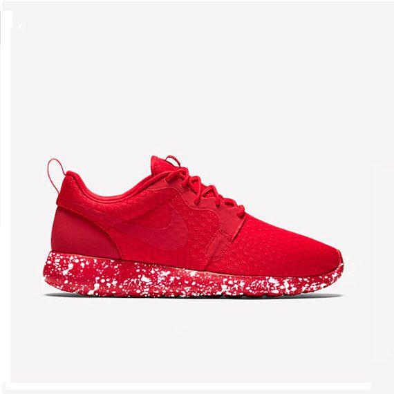 Custom Triple Red Hyperfuse Roshe Run Yeezy Oreo Splatter Men's Nike Roshe Run One Shoes Customized Painted Yeezy Lokai Jordan Kobe Lebron