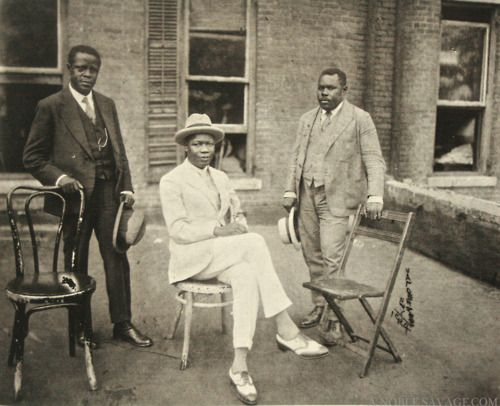 George O. Marke (left), Prince Kojo Tovalou-Houenou of Dahomey, and Marcus Garvey is at right. photo by James Van Der Zee 1924
